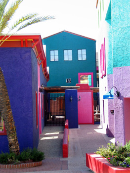 Colorful buildings in a colorful alley in downtown Tucson, Arizona.