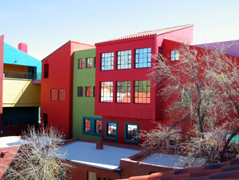Colorful buildings in downtown Tucson, Arizona.