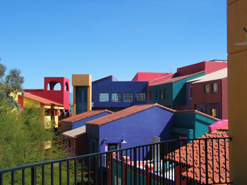 Colorful buildings viewed from a balcony in downtown Tucson, Arizona.