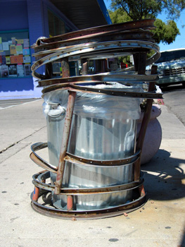 An artistic trash can on 4th Avenue near downtown Tucson, Arizona.