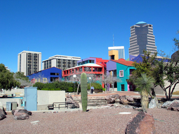 This is the Tucson skyline, looking north in downtown Tucson, Arizona.